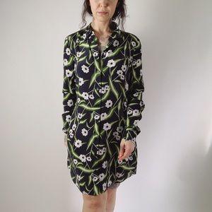 EQUIPMENT Silk Floral Shirt Dress Green Black